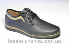 Men's leather shoes. Model - Matt black skin