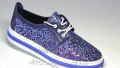Women's leather gym shoes. Model - Ked blue
