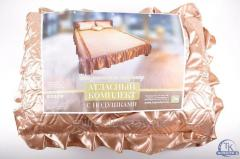 Покрывало на кровать атласное с подушками (размер
