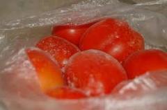 Овощи замороженные: перец, помидоры, пюре яблочное