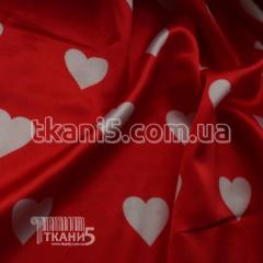Fabric Atlas of heart white-red (30 mm) 4447