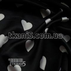Fabric Atlas of heart black-and-white (30 mm) 4448