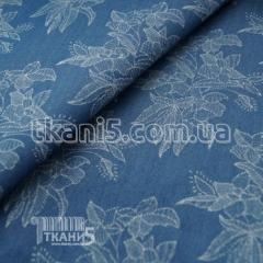 Fabric Denim flowers (rubashechny) 5081