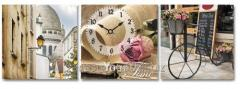 Wall clock on a canvas Cozy small streets 30*30sm,
