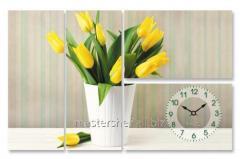 Часы настенные на холсте Тюльпаны 78*50, код: 06-400
