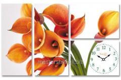 Часы настенные на холсте Цветок Калла 75*48см, код: 06-401