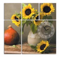 Часы настенные на холсте Подсолнух 60*60см, код: 06-402