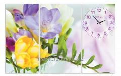 Часы настенные на холсте Весна 68*45см, код: 06-405