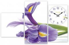 Часы настенные на холсте Ирис 67*39см, код: 06-406