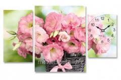 Часы настенные на холсте Китайская роза 74*35см, код: 06-407
