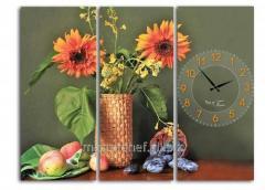 Часы настенные на холсте Подсолнух 60*45см, код: 06-409