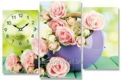 Часы настенные на холсте Розы 64*38см, код: 06-410