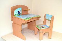 School desk + a chair the alphabet Ukrainian for