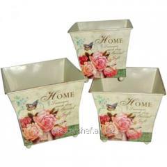 Кашпо квадратное металлическое Букет троянд 15х14см, код: 555-034-1
