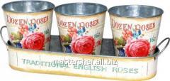 Набор металлических кашпо на подставке Розовая роза 35x12x6-12, 12x14cm, код: 555-044