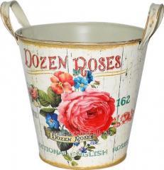 Кашпо круглое металлическое с ручками Розовая роза 18x18cm, код: 555-045-1