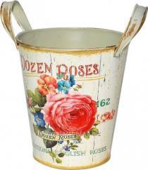 Кашпо круглое металлическое с ручками Розовая роза 15x16,5cm, код: 555-045-2