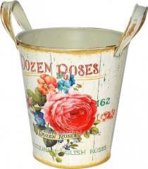 Кашпо круглое металлическое с ручками Розовая роза 12x15cm, код: 555-045-3
