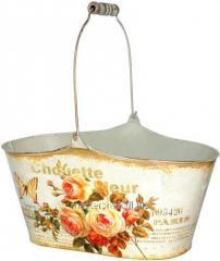 Кашпо овальное металлическое Чайная роза 28,5х14х14,5см, код: 555-049-1
