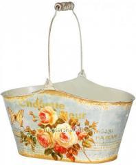 Кашпо овальное металлическое Чайная роза 26х12,5х13,5см, код: 555-049-2