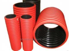 Protective corrugated pipes for laying of a cable