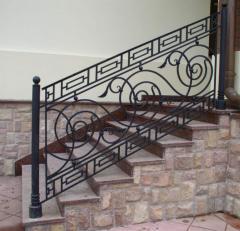 Shod handrail, handrail for ladders, a shod
