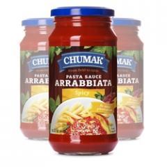 Chumak Spaghetti Arrabiata sauce in a glass jar