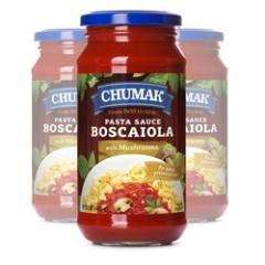 Chumak Spaghetti Sauce Boskayola in a glass jar