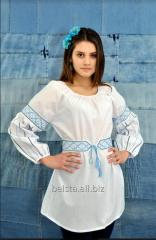 Embroidery Women's white with blue pattern