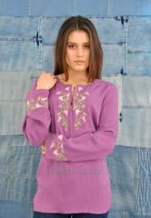 Женская вышиванка из розового льна