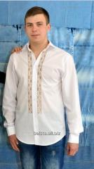 Вышиванка мужская на белом льне