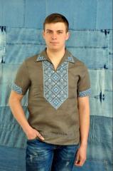 Вышиванка мужская с голубой нитью
