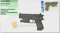 Пистолет b181+ (216шт/2) батар., лазер, пульки, в пакете 20*3*14см