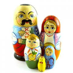 Nested doll Ukrainian family of 5 places,