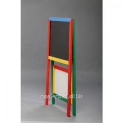 The easel is bilateral, floor for magnets, pieces