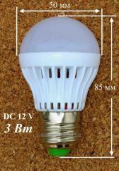 Светодиодная лампочка 12 Вольт 3 Ватт. Е-27 патрон