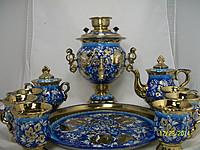 Samovar blue with a tea se