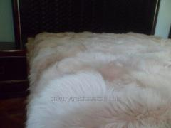 Fur blanket, 220 cm 200, light, gray, goat