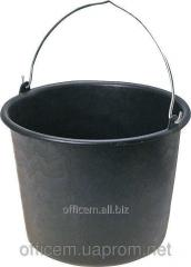 The bucket is round, plastic with a metal.ruchka