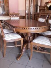 Table for a drawing room from a natural oak with a