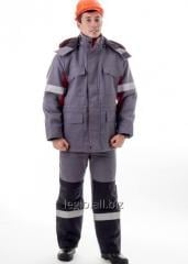 The suit consists of a jacket and semi-overalls.