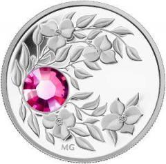 Срібна монета з кристалом Турмалин