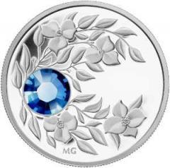 Серебряная монета с кристаллом Сапфир