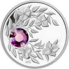 Серебряная монета с кристаллом Аметист