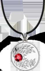 Июль. Рубин. Серебряная монета-подвеска