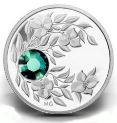 Серебряная монета с кристаллом Изумруд