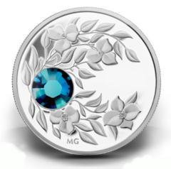 Серебряная монета с кристаллом Циркон
