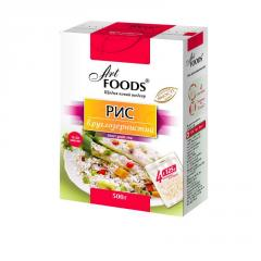 The TM ART FOODS round rice in bags for cooking,