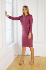 Dress in brick-red color with a high sleeve