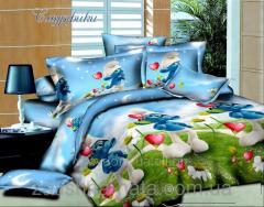 Комплект постельного белья Смурфики 2, ранфорс (Метр погонный ткани)